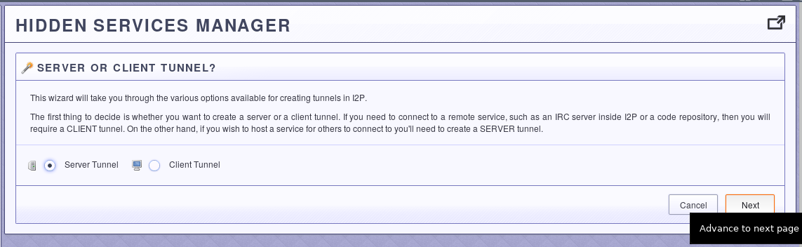 Step Two: Select a Server Tunnel